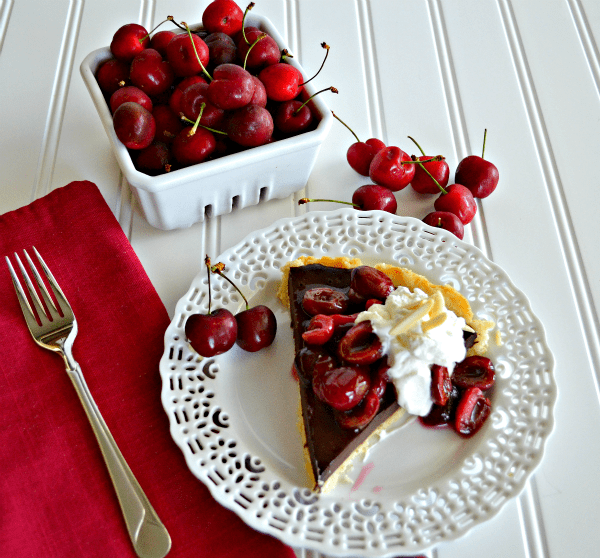 Chocolate Cherry Tart with Almond Whipped Cream